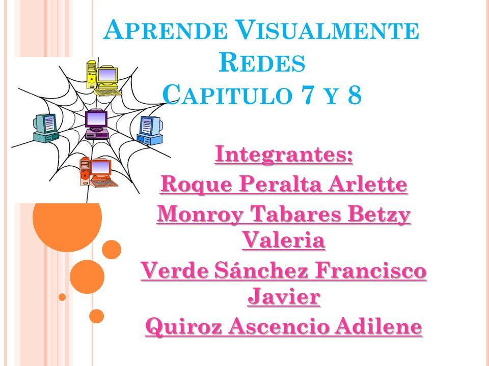 A PRENDE V ISUALMENTE R EDES C APITULO 7 Y 8 Integrantes: Roque Peralta Arlette Monroy Tabares Betzy Valeria Verde Sánchez Francisco Javier Quiroz Asc