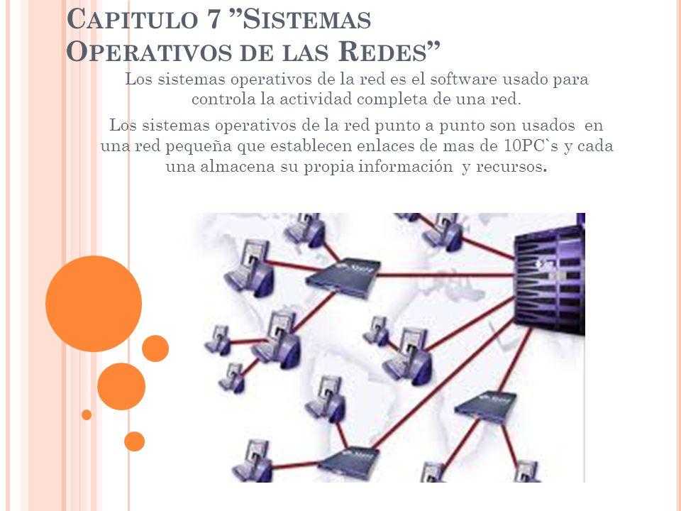 C APITULO 7 S ISTEMAS O PERATIVOS DE LAS R EDES Los sistemas operativos de la red es el software usado para controla la actividad completa de una red.