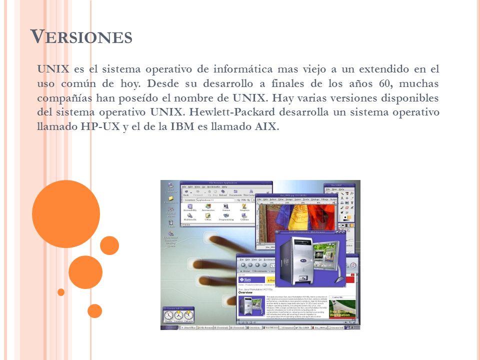 V ERSIONES UNIX es el sistema operativo de informática mas viejo a un extendido en el uso común de hoy. Desde su desarrollo a finales de los años 60,