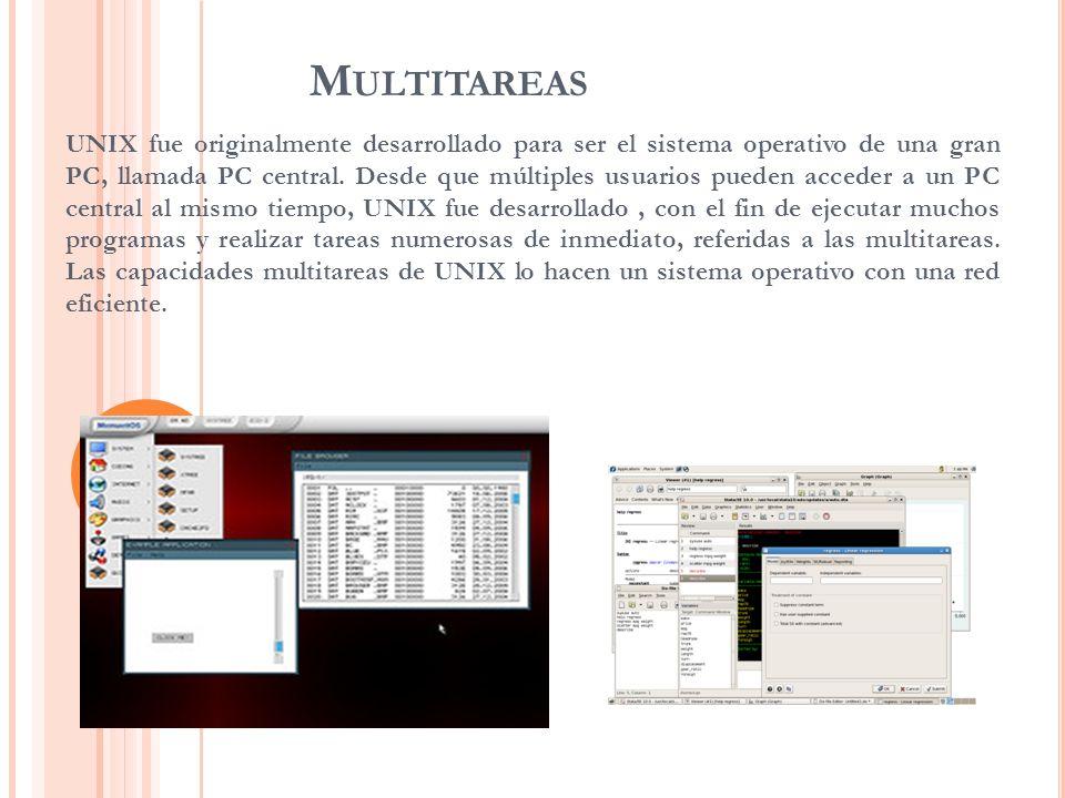 M ULTITAREAS UNIX fue originalmente desarrollado para ser el sistema operativo de una gran PC, llamada PC central. Desde que múltiples usuarios pueden