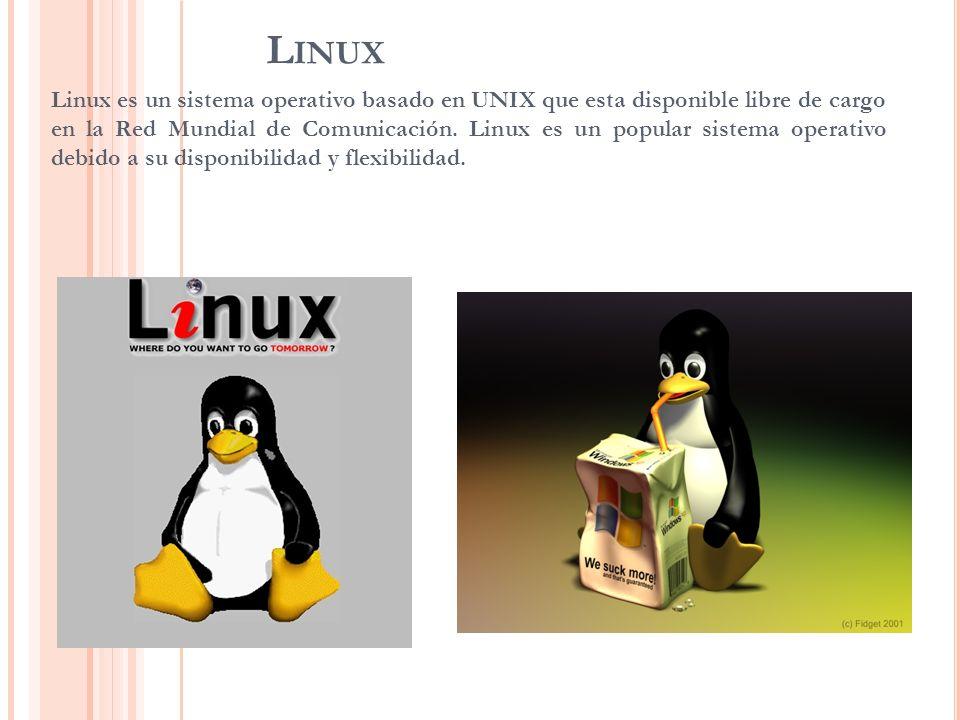 L INUX Linux es un sistema operativo basado en UNIX que esta disponible libre de cargo en la Red Mundial de Comunicación. Linux es un popular sistema