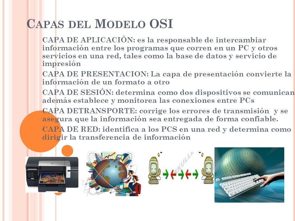 C APAS DEL M ODELO OSI CAPA DE APLICACIÓN: es la responsable de intercambiar información entre los programas que corren en un PC y otros servicios en