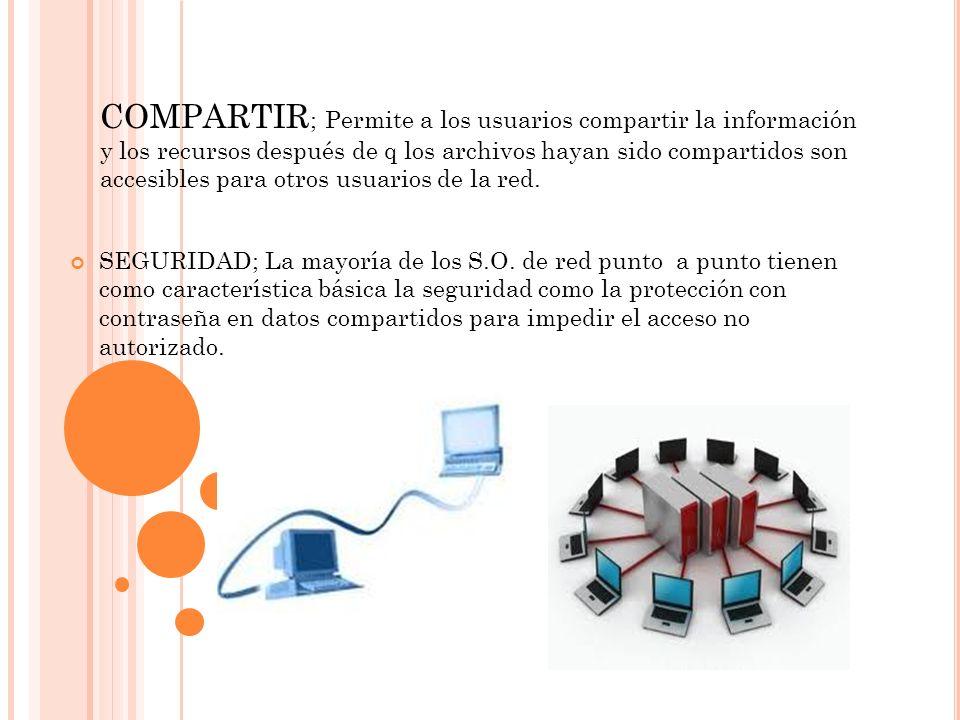 COMPARTIR ; Permite a los usuarios compartir la información y los recursos después de q los archivos hayan sido compartidos son accesibles para otros