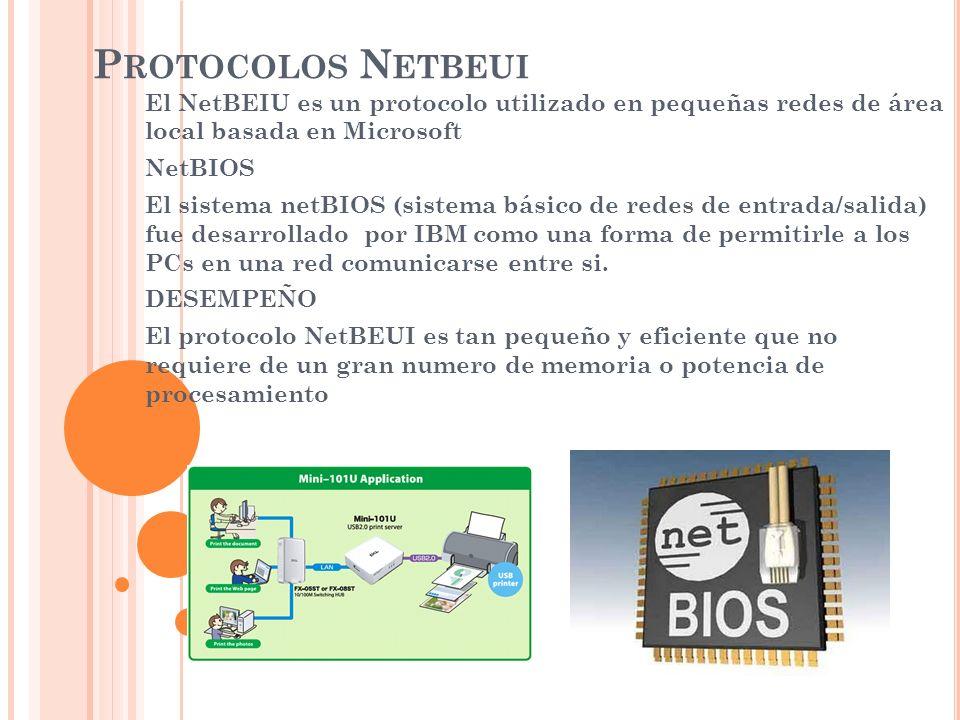 P ROTOCOLOS N ETBEUI El NetBEIU es un protocolo utilizado en pequeñas redes de área local basada en Microsoft NetBIOS El sistema netBIOS (sistema bási