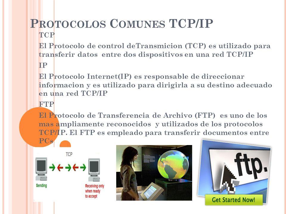 P ROTOCOLOS C OMUNES TCP/IP TCP El Protocolo de control deTransmicion (TCP) es utilizado para transferir datos entre dos dispositivos en una red TCP/I