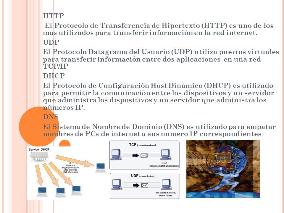 HTTP El Protocolo de Transferencia de Hipertexto (HTTP) es uno de los mas utilizados para transferir información en la red internet. UDP El Protocolo