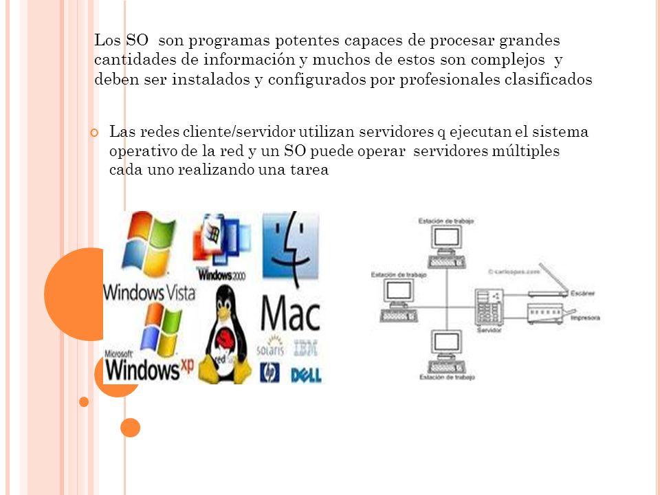 Los SO son programas potentes capaces de procesar grandes cantidades de información y muchos de estos son complejos y deben ser instalados y configura