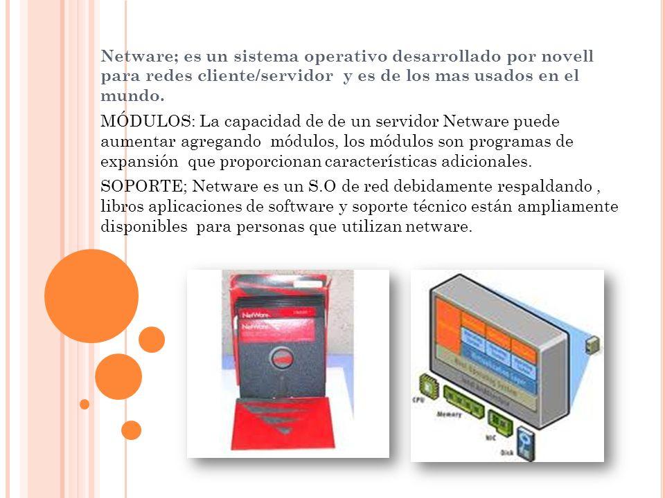 Netware; es un sistema operativo desarrollado por novell para redes cliente/servidor y es de los mas usados en el mundo. MÓDULOS: La capacidad de de u