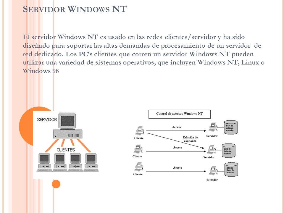 S ERVIDOR W INDOWS NT El servidor Windows NT es usado en las redes clientes/servidor y ha sido diseñado para soportar las altas demandas de procesamie