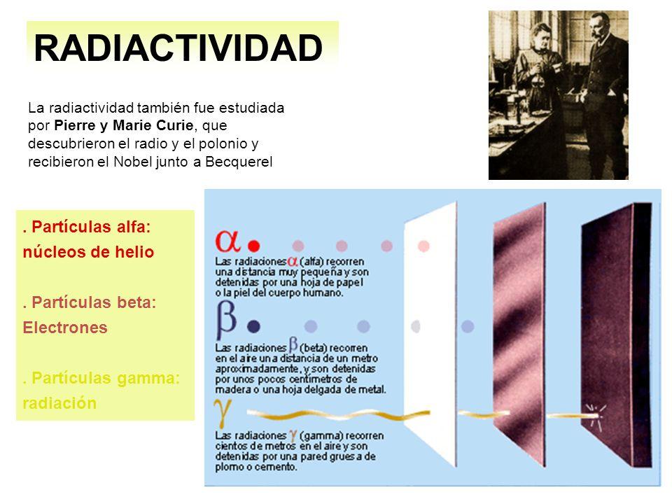 La radiactividad también fue estudiada por Pierre y Marie Curie, que descubrieron el radio y el polonio y recibieron el Nobel junto a Becquerel RADIAC