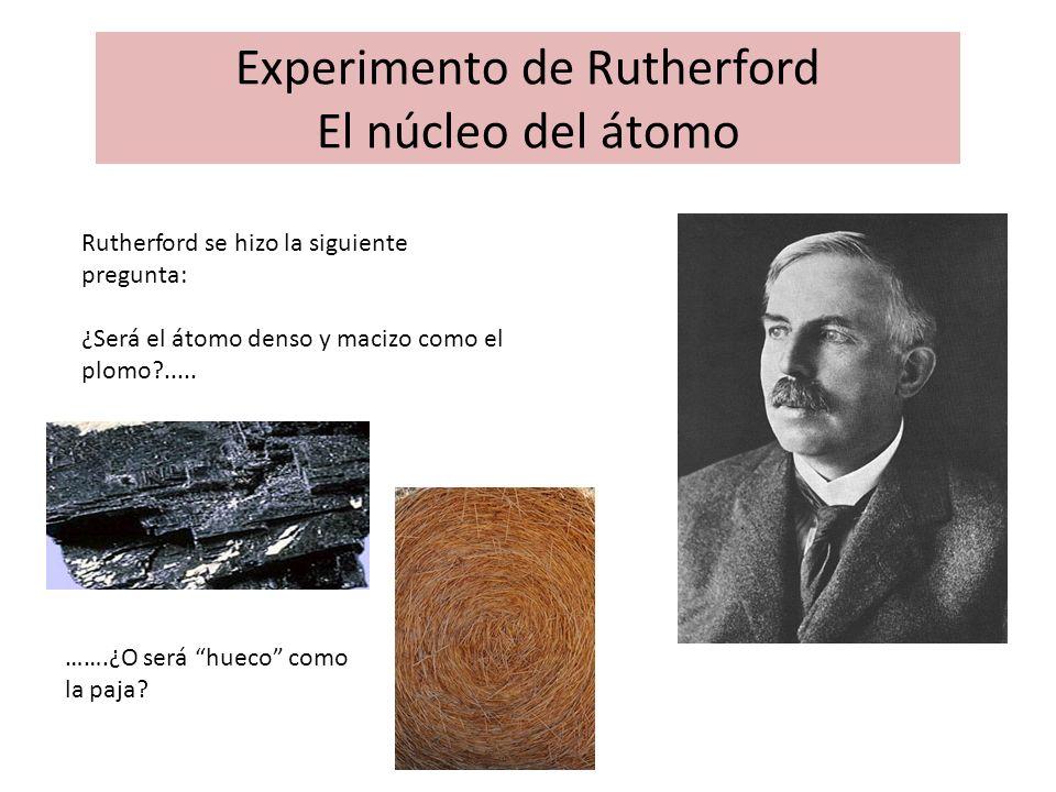 Experimento de Rutherford El núcleo del átomo Rutherford se hizo la siguiente pregunta: ¿Será el átomo denso y macizo como el plomo?..... …….¿O será h