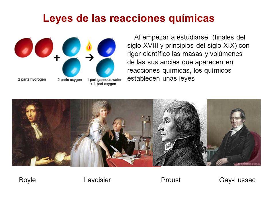 Leyes de las reacciones químicas Al empezar a estudiarse (finales del siglo XVIII y principios del siglo XIX) con rigor científico las masas y volúmen