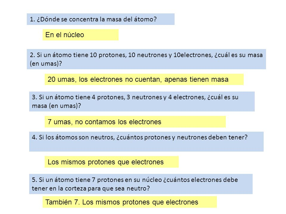 1. ¿Dónde se concentra la masa del átomo? 2. Si un átomo tiene 10 protones, 10 neutrones y 10electrones, ¿cuál es su masa (en umas)? 3. Si un átomo ti