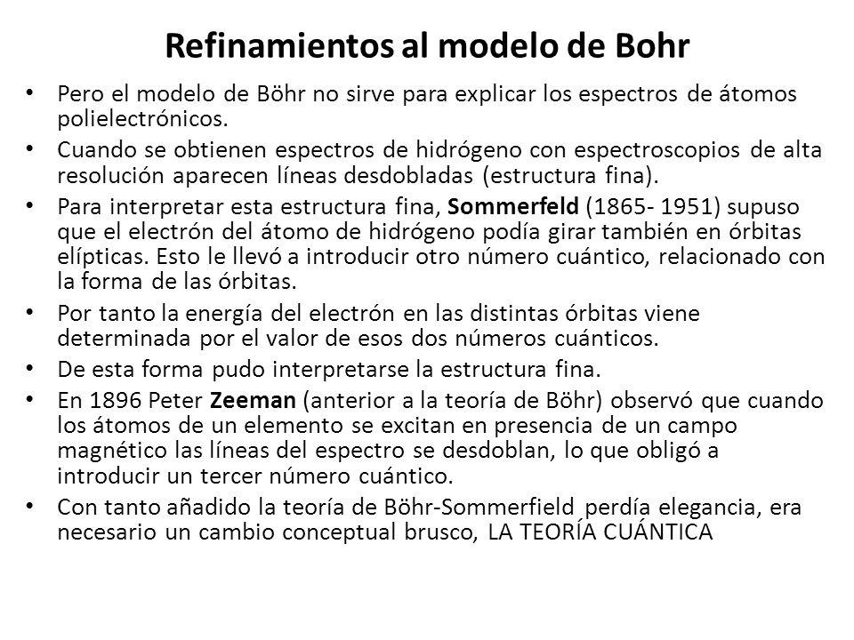 Refinamientos al modelo de Bohr Pero el modelo de Böhr no sirve para explicar los espectros de átomos polielectrónicos. Cuando se obtienen espectros d