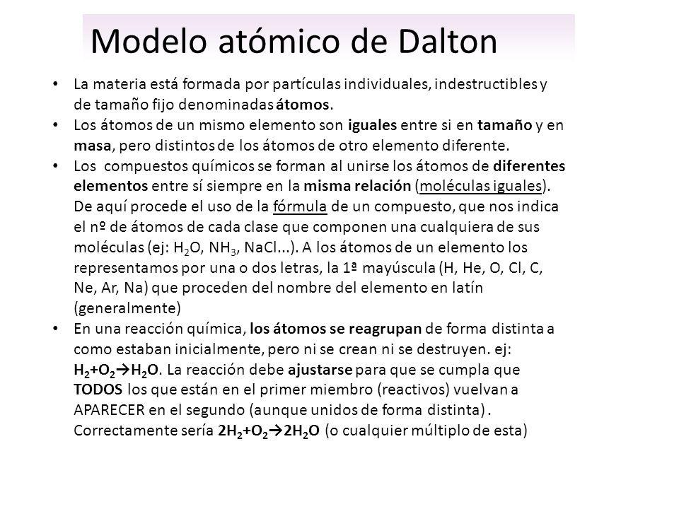 Modelo atómico de Dalton La materia está formada por partículas individuales, indestructibles y de tamaño fijo denominadas átomos. Los átomos de un mi