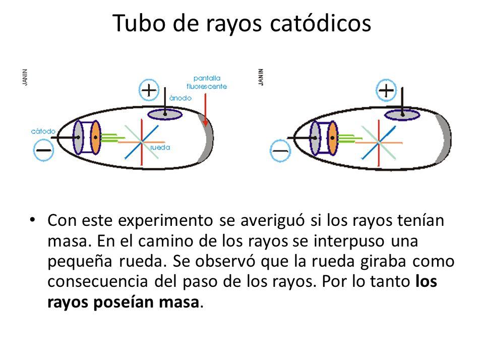 Tubo de rayos catódicos Con este experimento se averiguó si los rayos tenían masa. En el camino de los rayos se interpuso una pequeña rueda. Se observ
