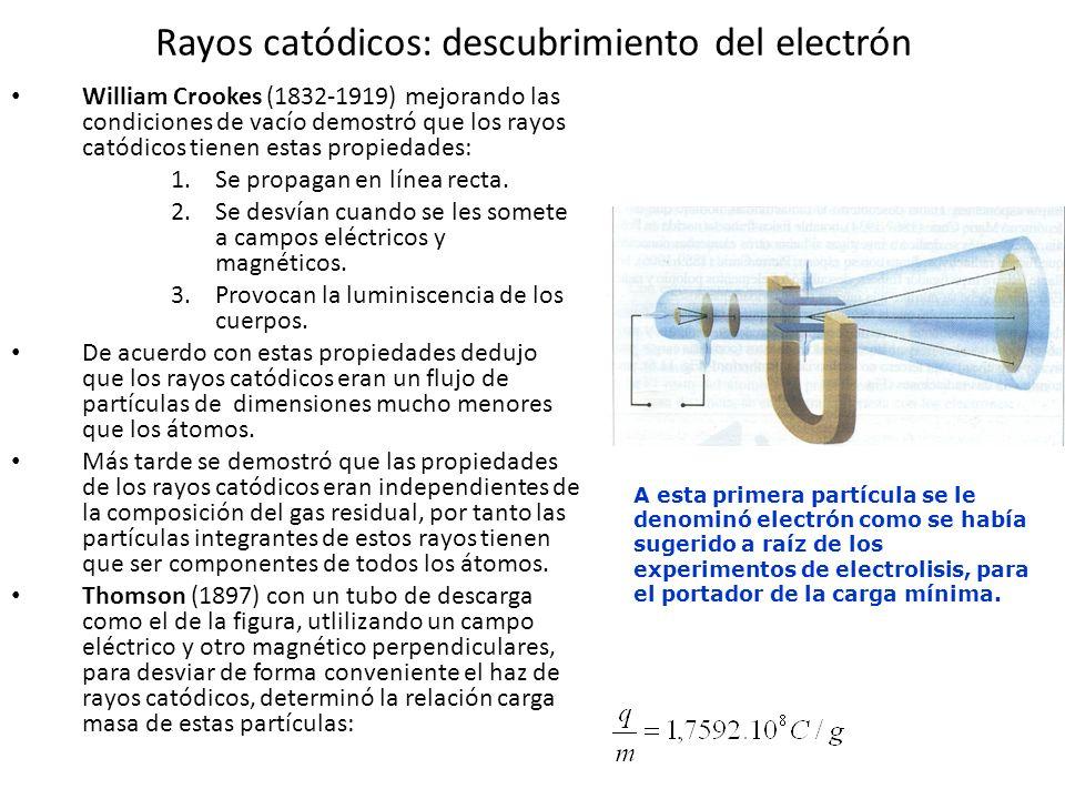 Electrón y modelo atómico de Thomson El físico J.J Thomson determinó que los rayos catódicos eran un flujo de pequeñísimas partículas, con carga eléctrica negativa que llamó ELECTRÓN Los electrones estarían colocados en el átomo como las pasas en un budín de pasas.