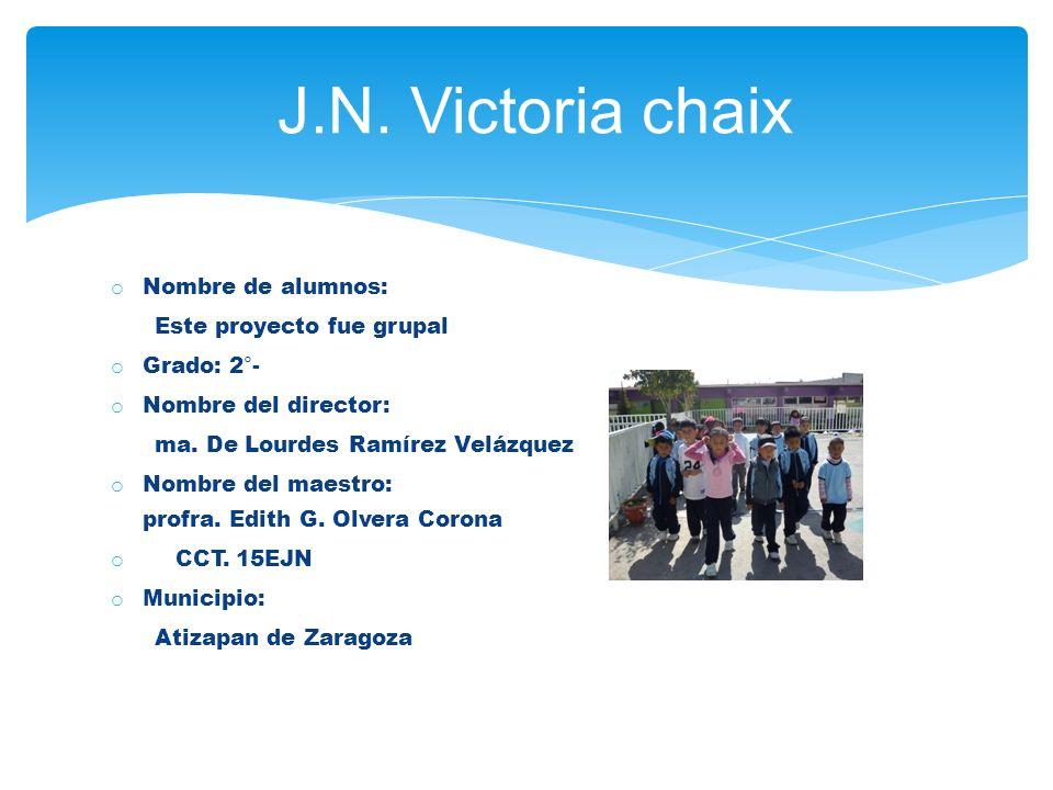 o Nombre de alumnos: Este proyecto fue grupal o Grado: 2°- o Nombre del director: ma.
