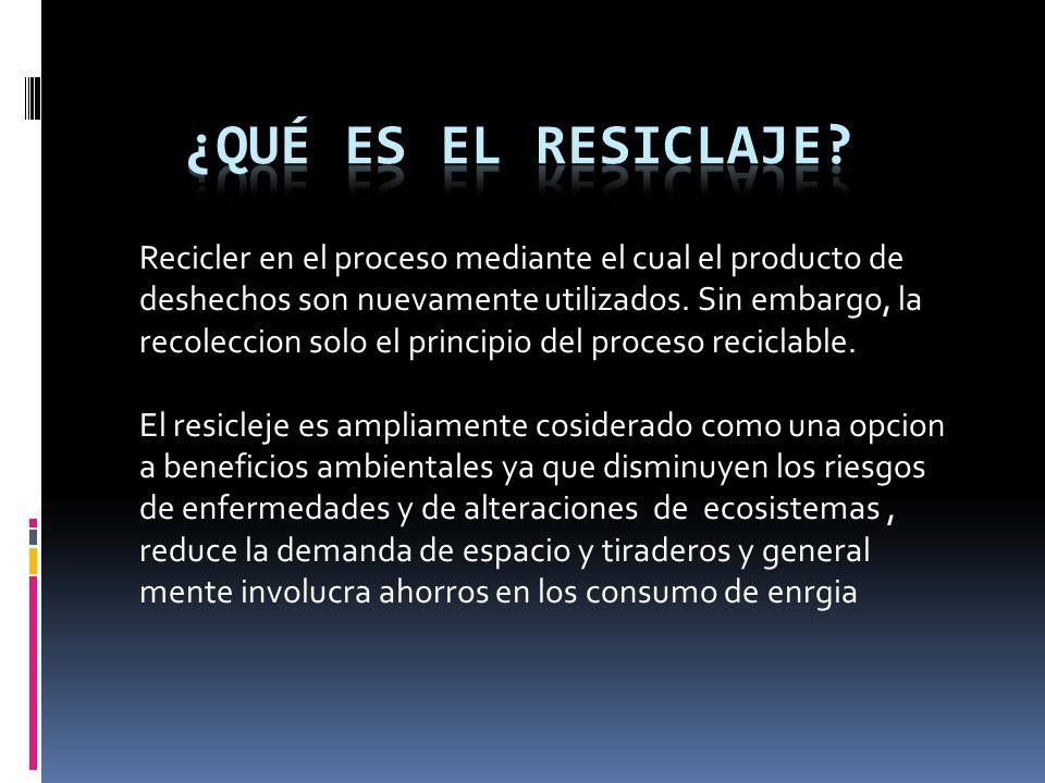 Recicler en el proceso mediante el cual el producto de deshechos son nuevamente utilizados.