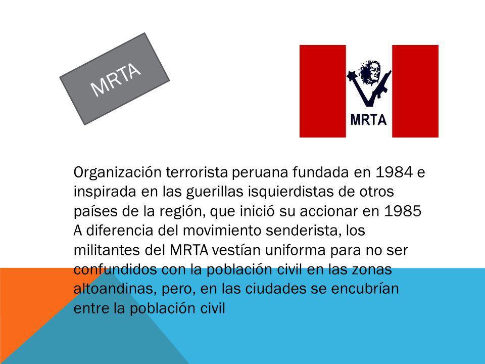 PRINCIPALES ACCIONES TERRORISTAS DEL MRTA TERRORISMO Disturbo social asesinatossecuestros