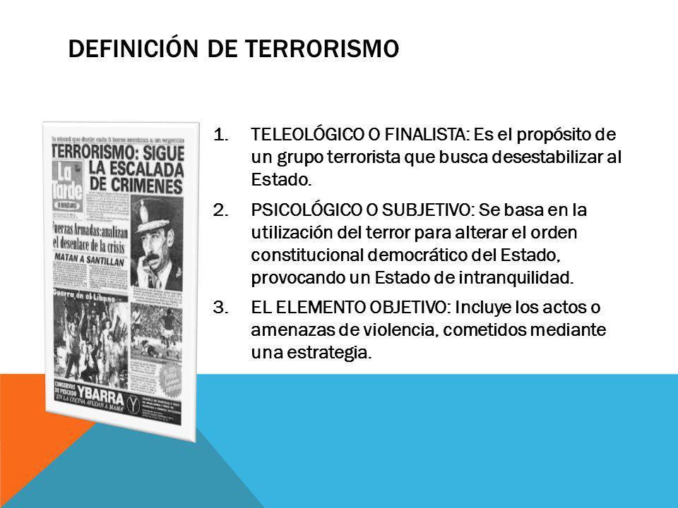 DEFINICIÓN DEL TERRORISMO SEGÚN EL ESPACIO DÓNDE ACTÚA Accionar dentro del Estado TERRORISMO INTERNO Con base en un Estado pero con efecto trasforterizo.