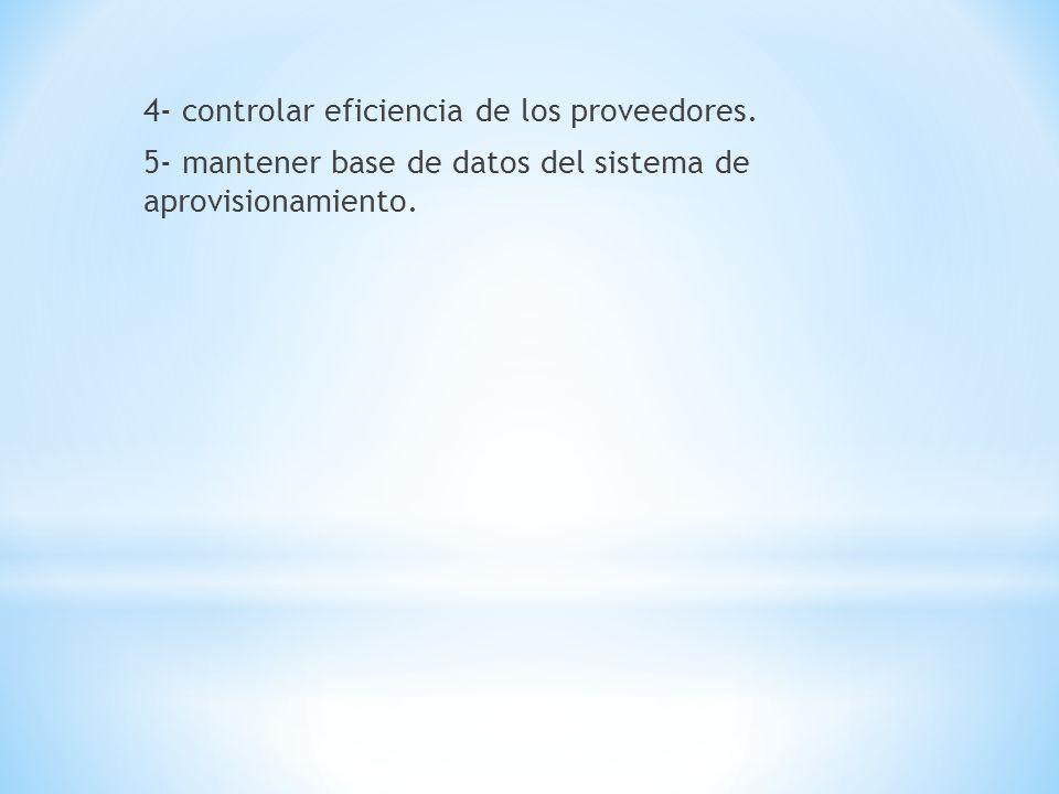 4- controlar eficiencia de los proveedores. 5- mantener base de datos del sistema de aprovisionamiento.