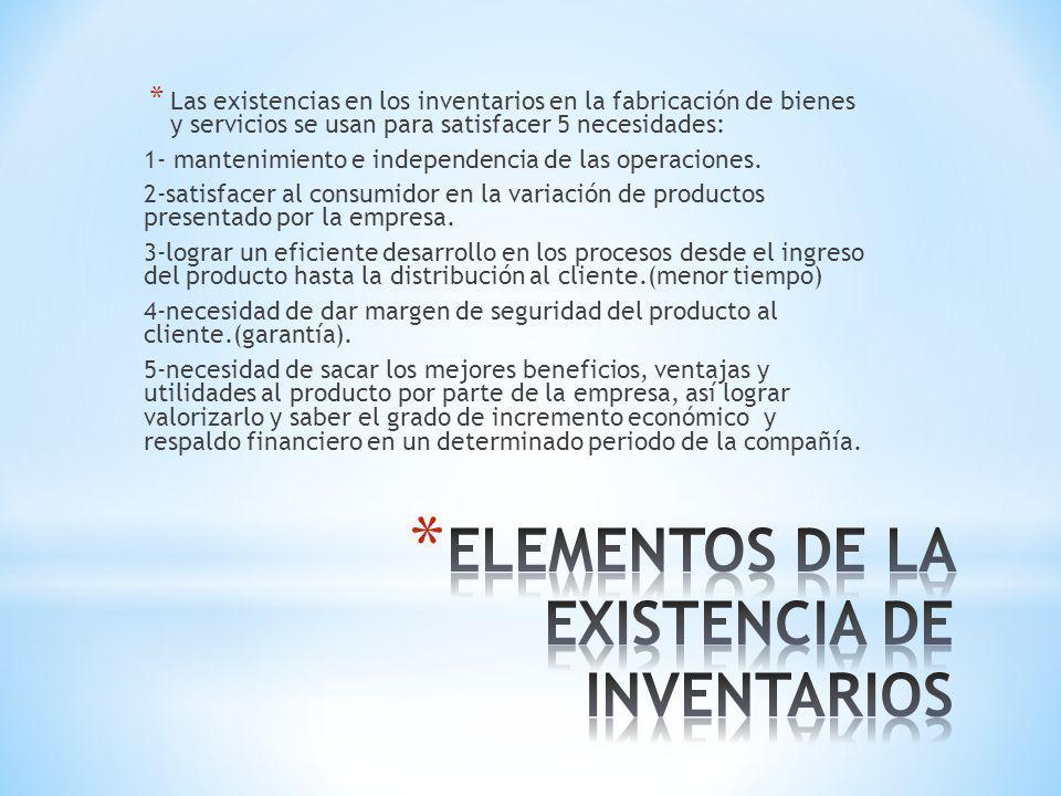 * Las existencias en los inventarios en la fabricación de bienes y servicios se usan para satisfacer 5 necesidades: 1- mantenimiento e independencia d