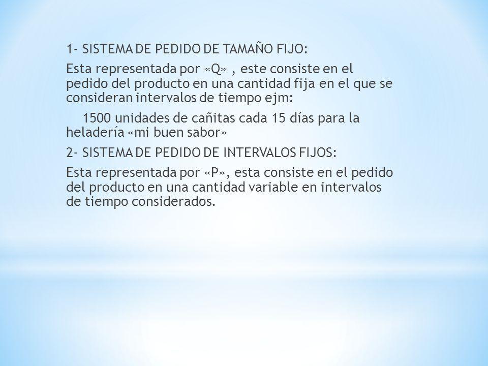 1- SISTEMA DE PEDIDO DE TAMAÑO FIJO: Esta representada por «Q», este consiste en el pedido del producto en una cantidad fija en el que se consideran i