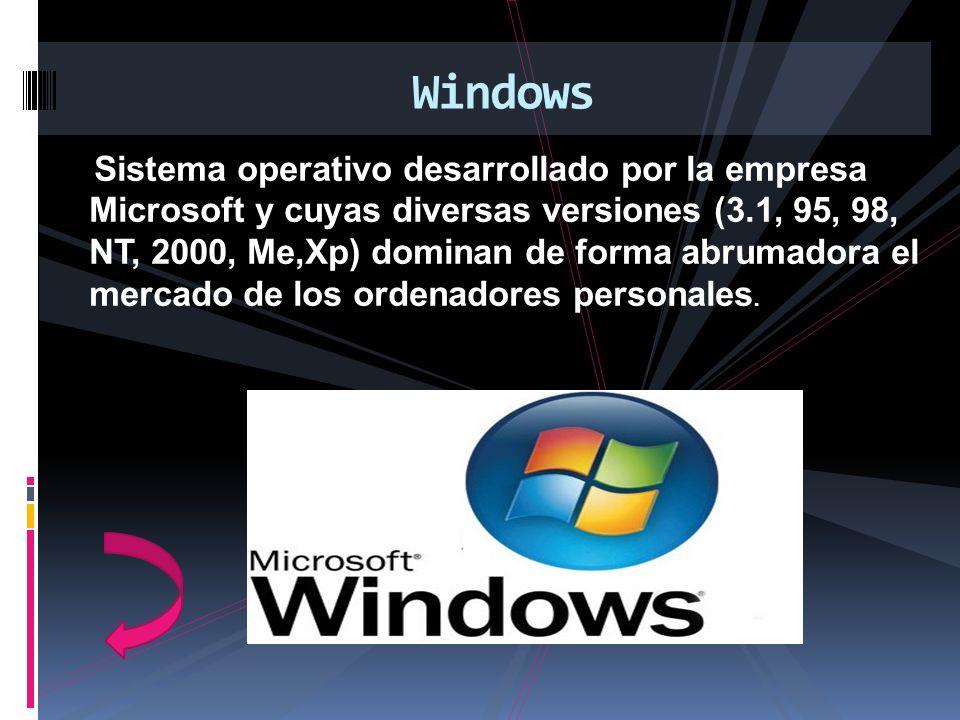 Sistema operativo desarrollado por la empresa Microsoft y cuyas diversas versiones (3.1, 95, 98, NT, 2000, Me,Xp) dominan de forma abrumadora el merca