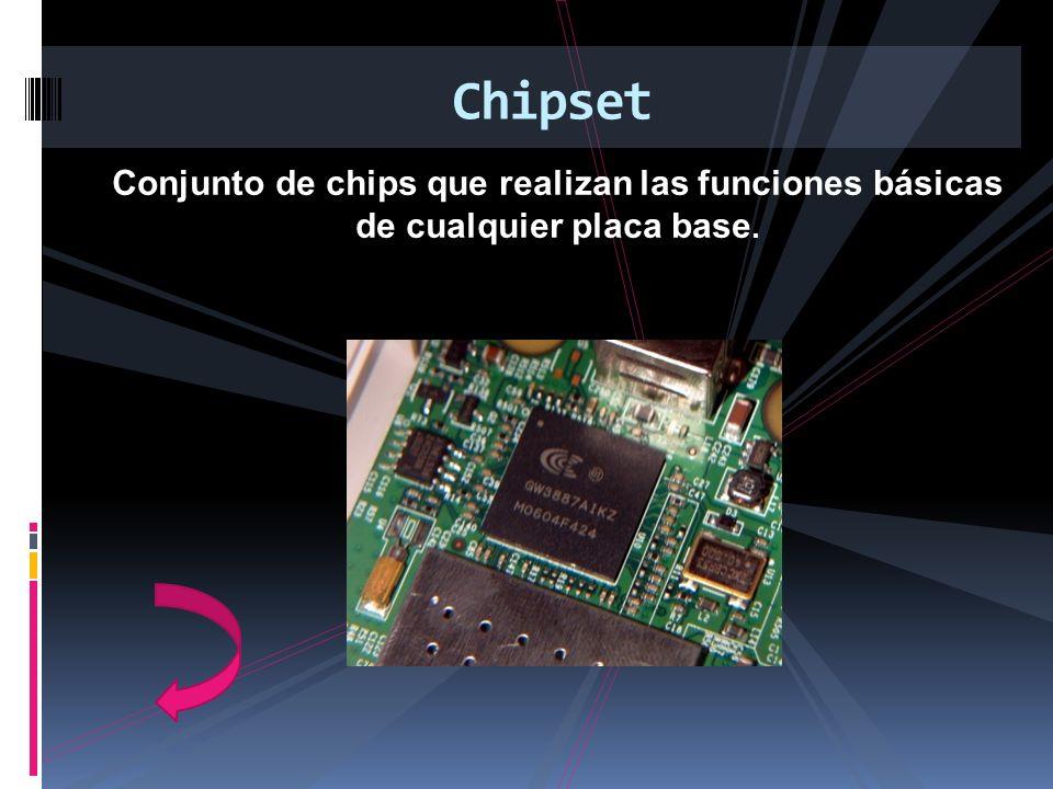Conjunto de chips que realizan las funciones básicas de cualquier placa base. Chipset