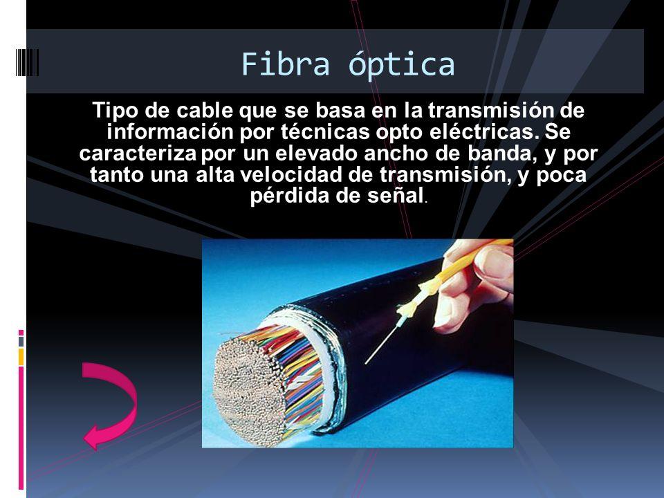 Tipo de cable que se basa en la transmisión de información por técnicas opto eléctricas. Se caracteriza por un elevado ancho de banda, y por tanto una