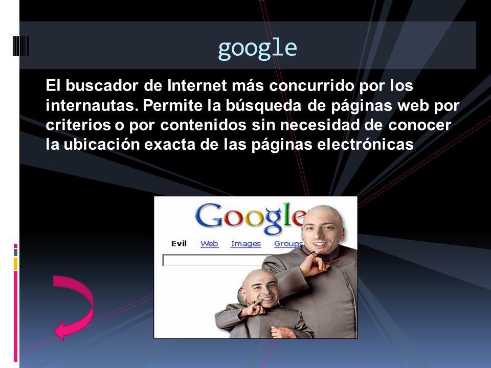El buscador de Internet más concurrido por los internautas. Permite la búsqueda de páginas web por criterios o por contenidos sin necesidad de conocer