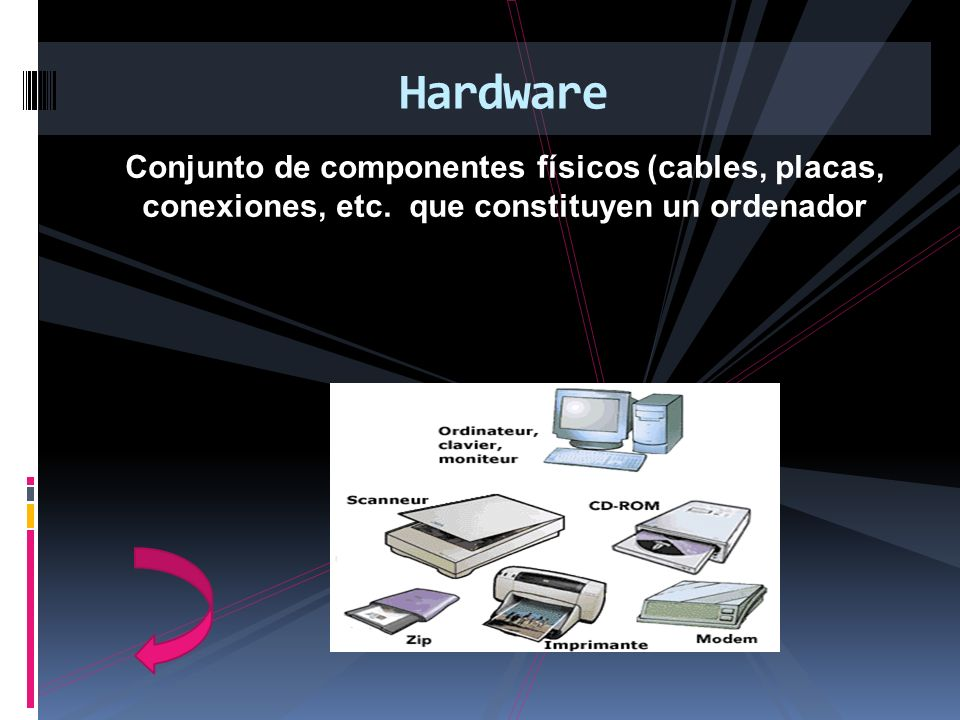 Conjunto de componentes físicos (cables, placas, conexiones, etc. que constituyen un ordenador Hardware