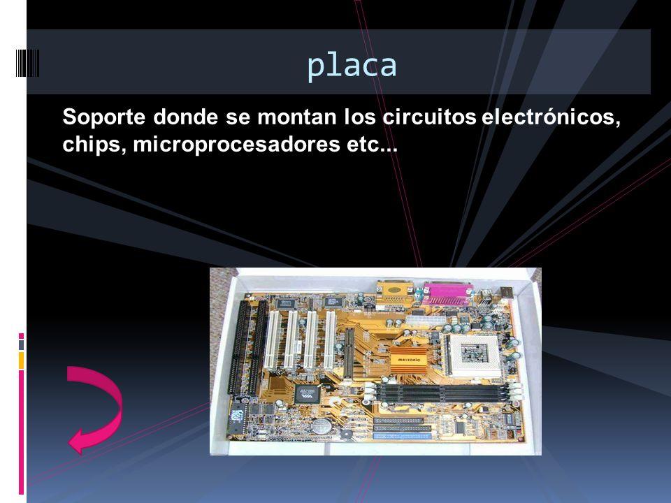 Soporte donde se montan los circuitos electrónicos, chips, microprocesadores etc... placa
