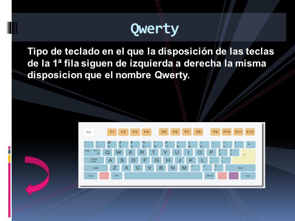 Tipo de teclado en el que la disposición de las teclas de la 1ª fila siguen de izquierda a derecha la misma disposicion que el nombre Qwerty. Qwerty