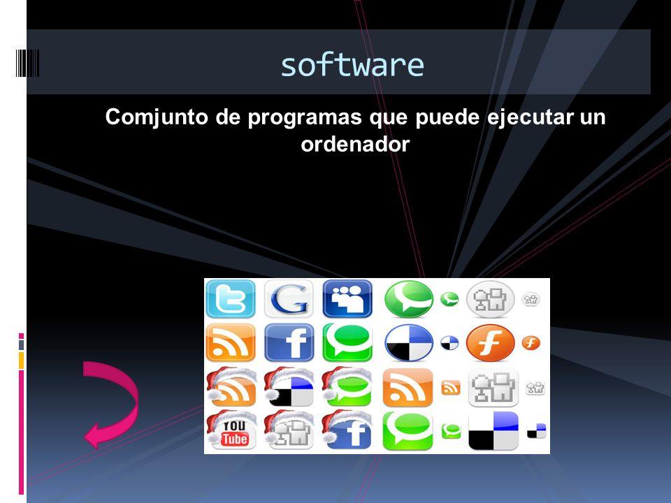 Comjunto de programas que puede ejecutar un ordenador software