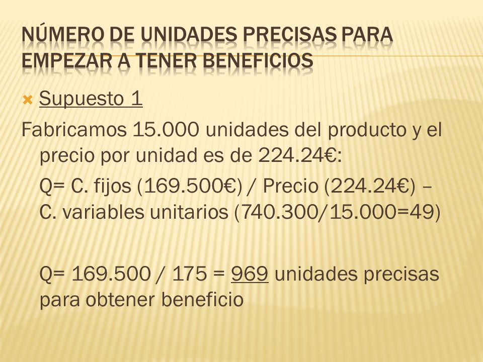 Supuesto 1 Fabricamos 15.000 unidades del producto y el precio por unidad es de 224.24: Q= C.