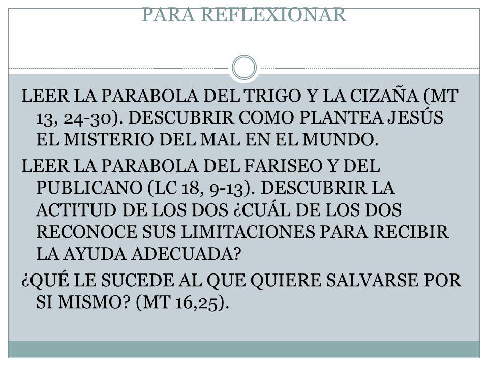 PARA REFLEXIONAR LEER LA PARABOLA DEL TRIGO Y LA CIZAÑA (MT 13, 24-30).