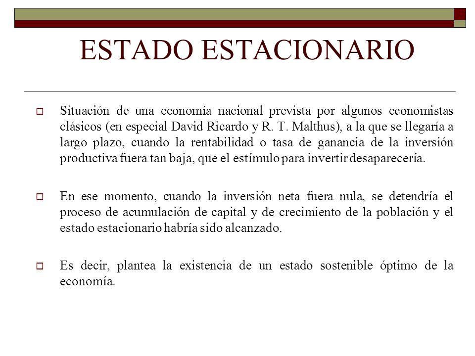 ESTADO ESTACIONARIO Situación de una economía nacional prevista por algunos economistas clásicos (en especial David Ricardo y R. T. Malthus), a la que