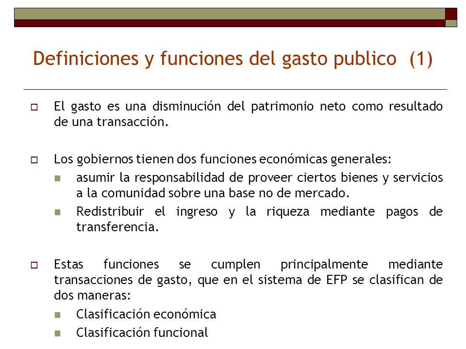 Definiciones y funciones del gasto publico (1) El gasto es una disminución del patrimonio neto como resultado de una transacción. Los gobiernos tienen