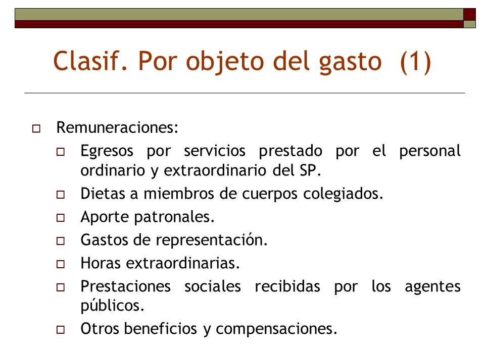 Clasif. Por objeto del gasto (1) Remuneraciones: Egresos por servicios prestado por el personal ordinario y extraordinario del SP. Dietas a miembros d