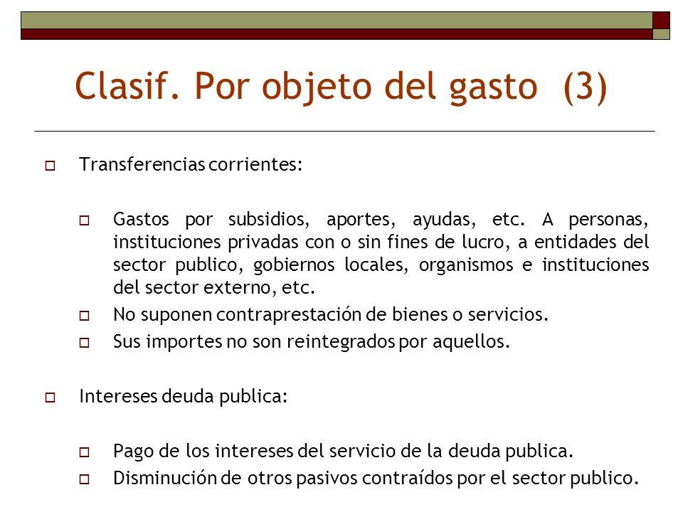 Clasif. Por objeto del gasto (3) Transferencias corrientes: Gastos por subsidios, aportes, ayudas, etc. A personas, instituciones privadas con o sin f