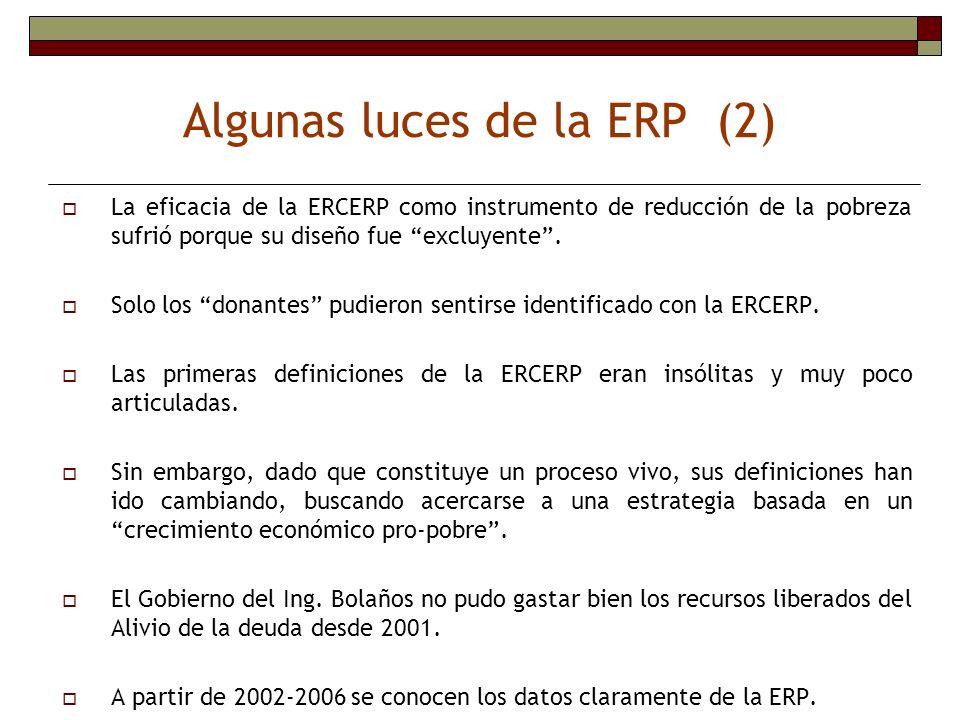 La eficacia de la ERCERP como instrumento de reducción de la pobreza sufrió porque su diseño fue excluyente. Solo los donantes pudieron sentirse ident