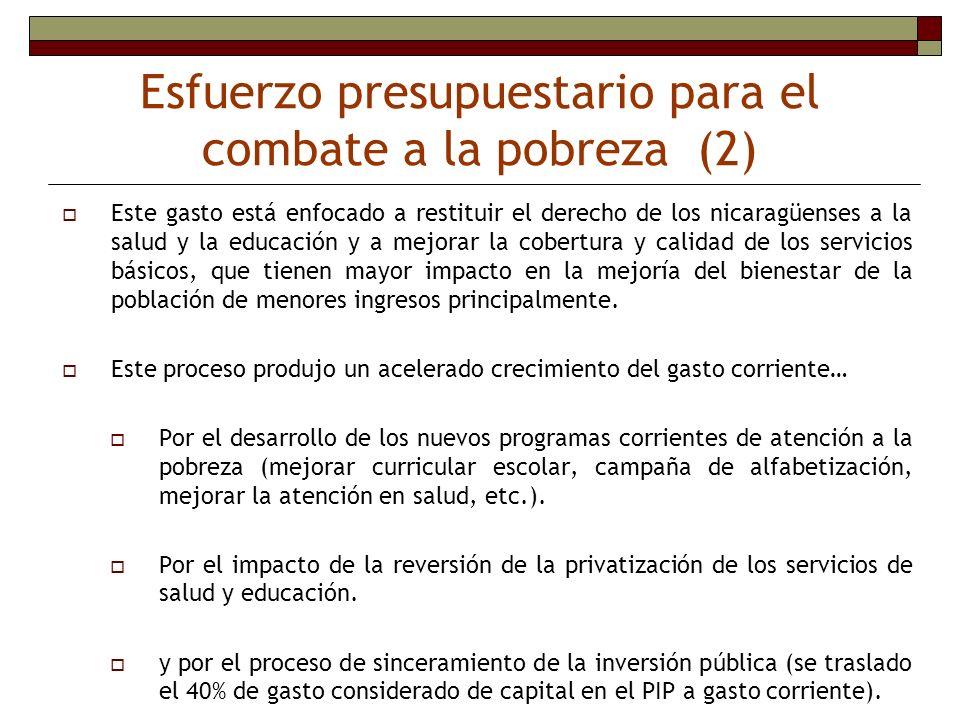 Este gasto está enfocado a restituir el derecho de los nicaragüenses a la salud y la educación y a mejorar la cobertura y calidad de los servicios bás