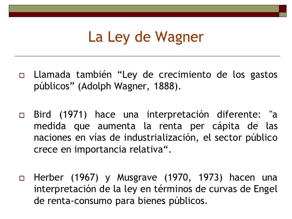 Llamada también Ley de crecimiento de los gastos públicos (Adolph Wagner, 1888). Bird (1971) hace una interpretación diferente: