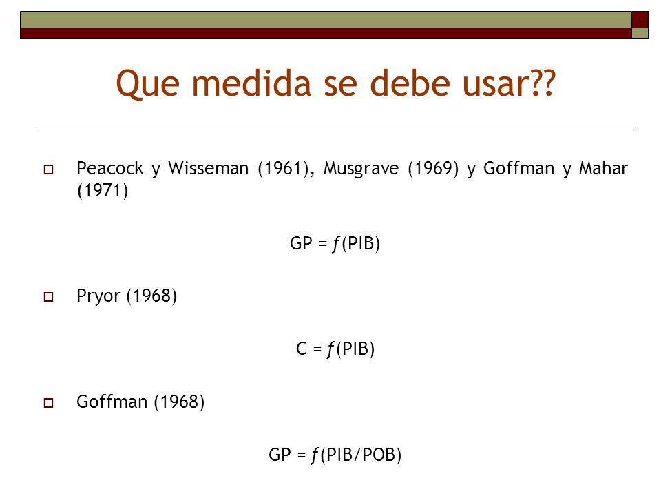 Peacock y Wisseman (1961), Musgrave (1969) y Goffman y Mahar (1971) GP = ƒ(PIB) Pryor (1968) C = ƒ(PIB) Goffman (1968) GP = ƒ(PIB/POB) Que medida se d