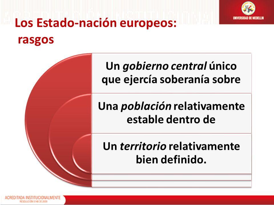 Los Estado-nación europeos: rasgos Un gobierno central único que ejercía soberanía sobre Una población relativamente estable dentro de Un territorio r