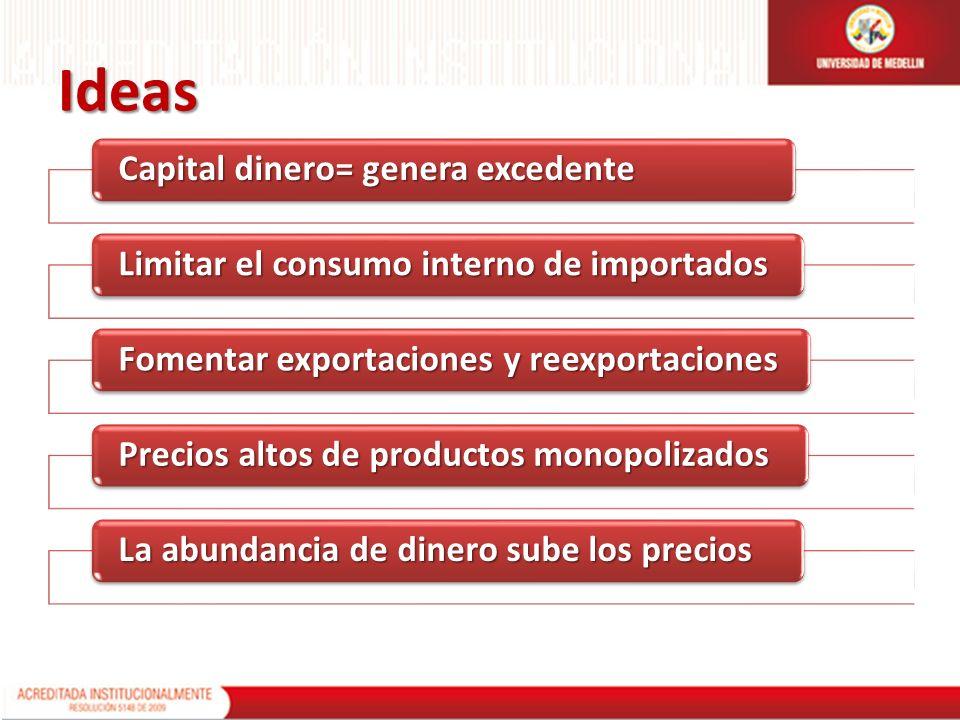Ideas Capital dinero= genera excedente Limitar el consumo interno de importados Fomentar exportaciones y reexportaciones Precios altos de productos mo