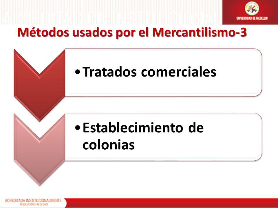 Métodos usados por el Mercantilismo-3 Tratados comerciales Establecimiento de colonias