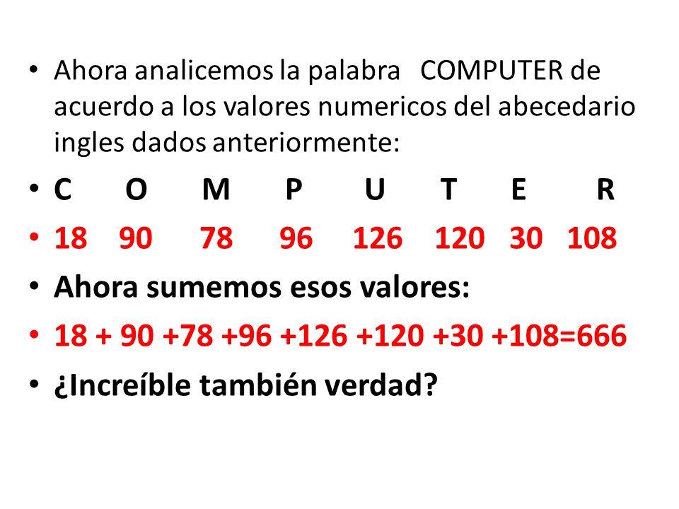 Hemos visto que la palabra NEW YORK equivale al numero 666 y la palabra COMPUTER también equivale al numero 666 de acuerdo al abecedario ingles y sus valores numéricos.